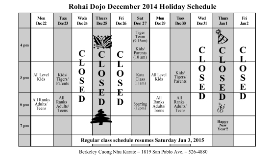 holiday sched 2014