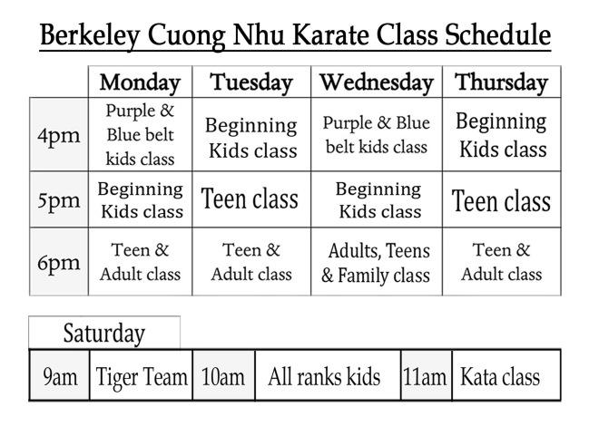 2021 Class Schedule FALL